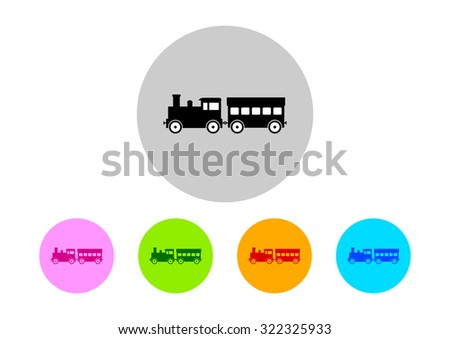Colorful train icons on white background