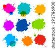 Colorful Transparent Vector Stains, Blots, Splashes Set  - stock