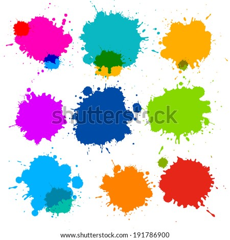 Colorful Transparent Vector Stains, Blots, Splashes Set  - stock vector