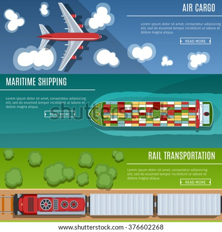 Colorful Transportation Banners Set. Top View. Flat lay Style. Air Cargo. Maritime Shipping. Rail Transportation - stock vector