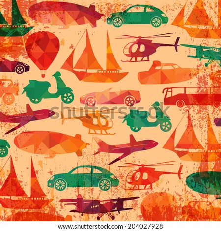 Colorful transportation pattern. - stock vector