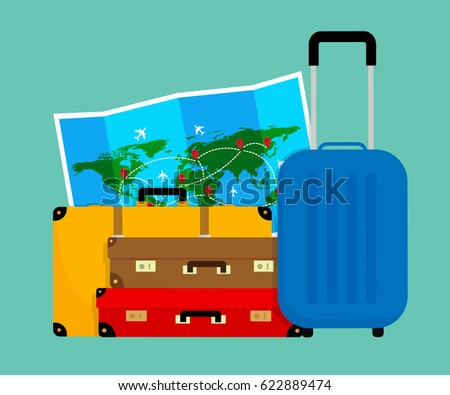 Colorful travel bags folded world map vectores en stock 622889462 colorful travel bags and folded world map vector illustration flat design gumiabroncs Image collections
