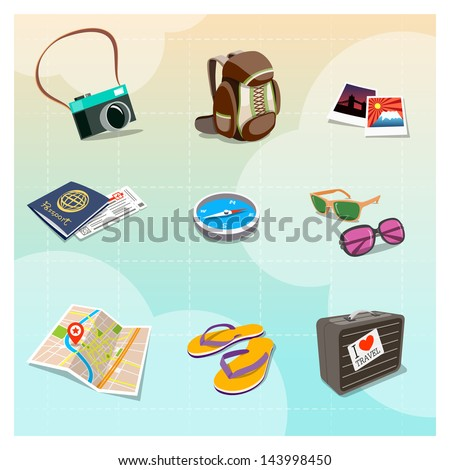 Colorful Travel Clipart in Cartoon style - stock vector