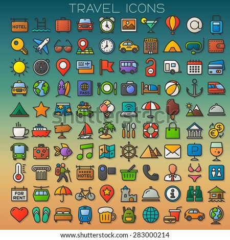 colorful travel line icons set - stock vector