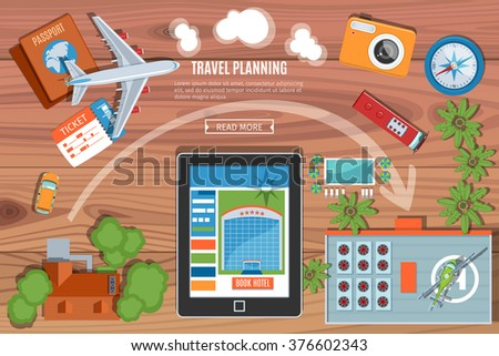 Colorful Travel Planning Vector Banner. Top View. Flat Lay Style