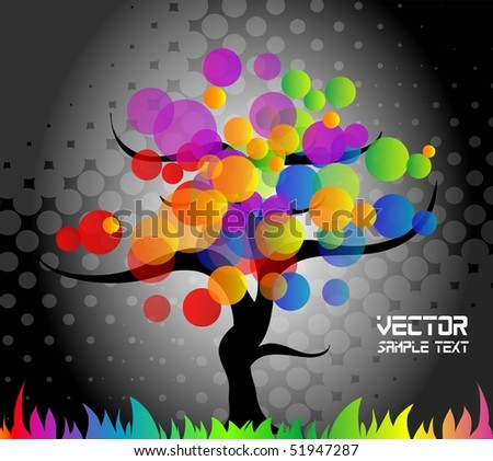 Colorful tree background, vector