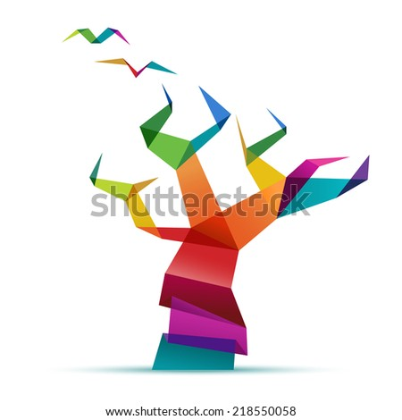 Colorful tree, folded paper, concept of growth, eps10 vector - stock vector