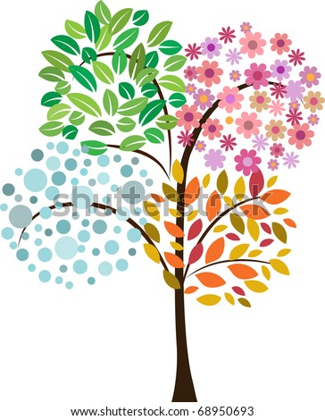 colorful tree of four seasons. vector icon - stock vector