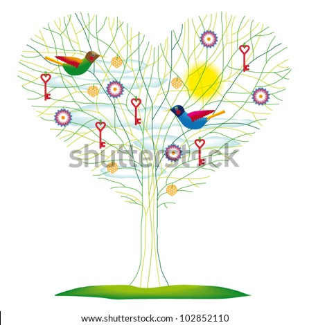 Colorful Tree with Birds, Flowers, Keys and Decorations Isolated on White Background - Vector Illustration - stock vector