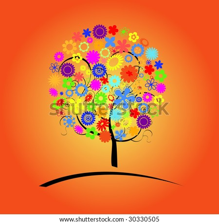 Colorful tree with flowers vector illustration - stock vector