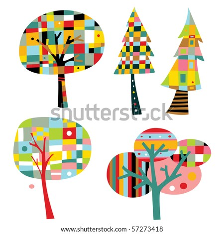 Colorful trees in a simple, geometric style. - stock vector