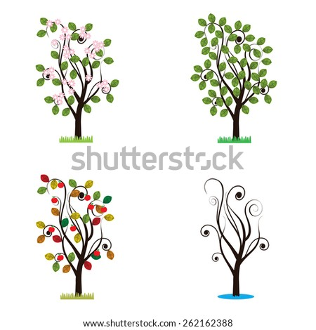Colorful trees in winter, spring, autumn and summer - stock vector