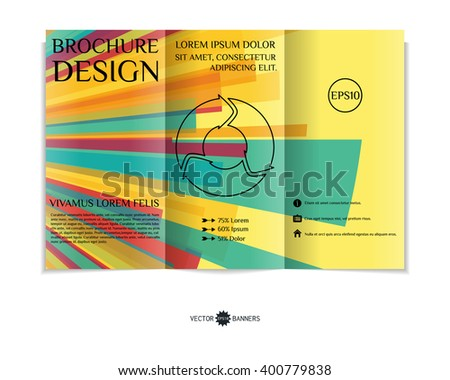 Colorful tri-fold brochure design template with modern geometric background. Three-fold leaflet with random squares background. Creative abstract EPS10 vector cover concept.
