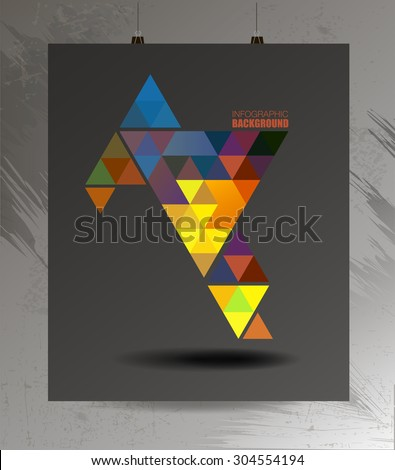 Colorful triangle cosmic brilliant polygonal fashion hipster background on poster. Abstract background of geometric triangles, infographics for web, t-shirt prints - stock vector