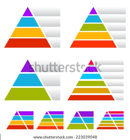 Colorful triangle, pyramid charts w/ banners - stock vector