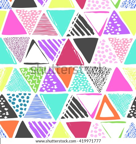 Colorful triangles print ~ seamless background