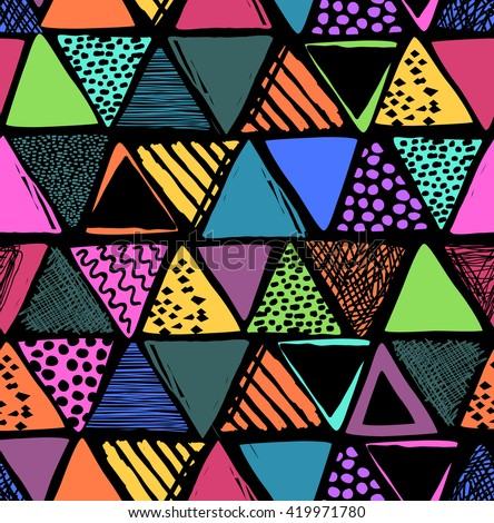 Colorful triangles print ~ seamless background - stock vector