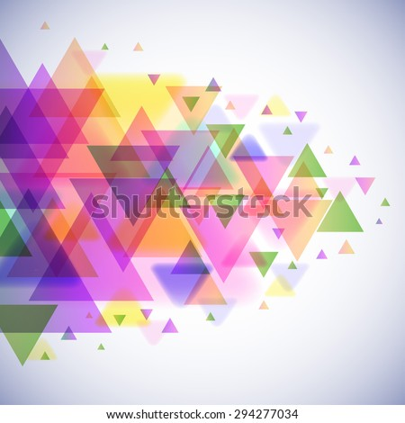 Colorful triangles vector background with copy space. - stock vector