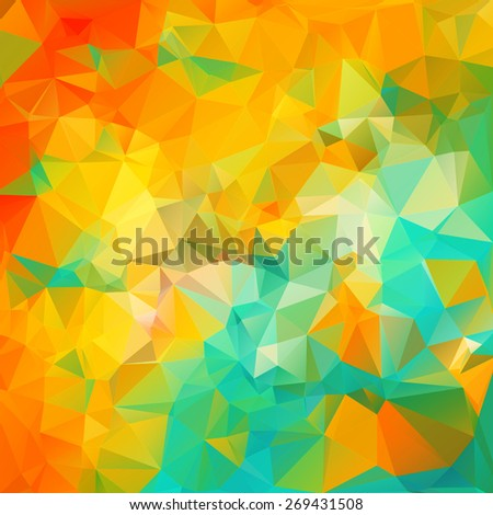 Colorful triangular background with triangular & polygonal geometric shapes and vibrant stylish color tones - stock vector
