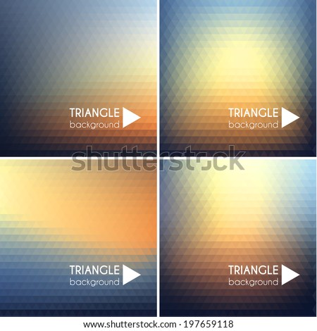 Colorful triangular backgrounds set  - stock vector