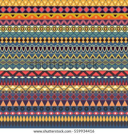 colorful tribal vintage ethnic seamless pattern stock