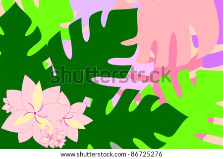 Colorful tropical leaves and flowers background - stock vector