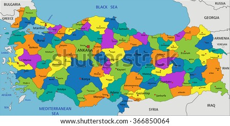 Colorful Turkey political map with clearly labeled, separated layers. Vector illustration. - stock vector