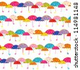 Colorful Umbrella Seamless Pattern Background - stock vector