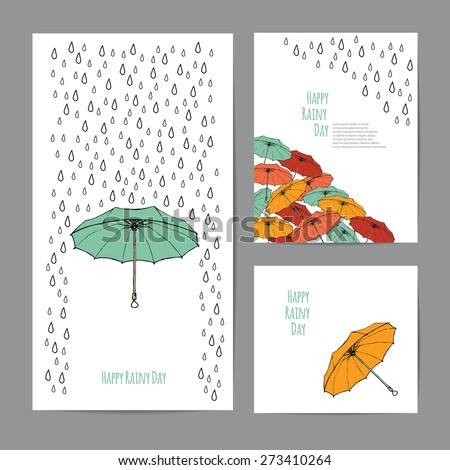 Colorful umbrellas and rain drops with text block. Templates for design of cards, banners and flyers. White background - stock vector