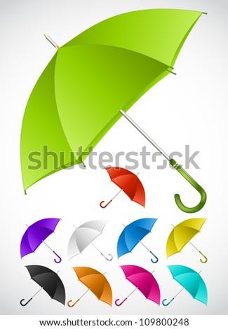 Colorful umbrellas set. Vector - stock vector