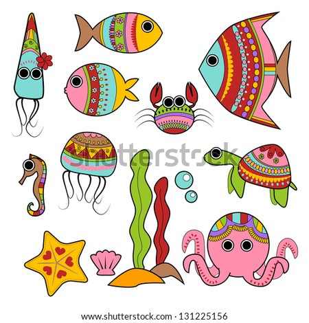 colorful under sea creatures stock vector royalty free 131225156