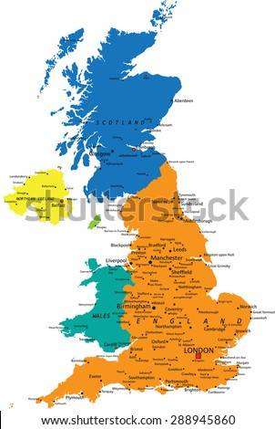 Highly Detailed United Kingdom Scotland Map Stock Vector - Political map of united kingdom
