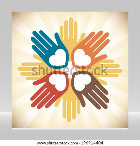Colorful united loving hands design.  - stock vector