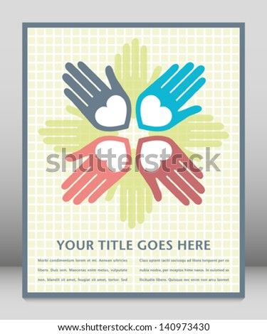 Colorful united loving hands design with space for text.