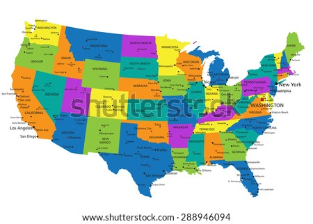 Colorful United States of America political map with clearly labeled, separated layers. Vector illustration. - stock vector
