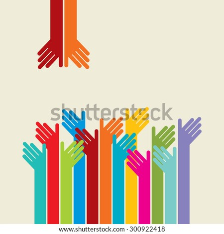 Colorful up hands logo, vector illustration - stock vector