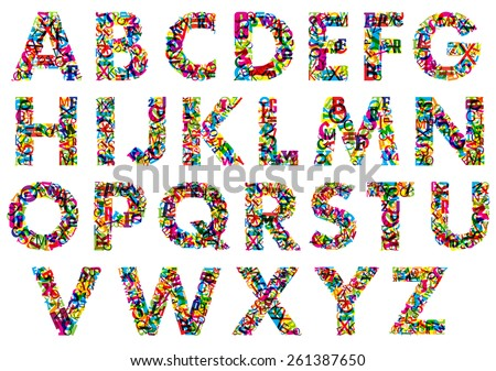 Colorful upper case alphabet letters isolated on white background