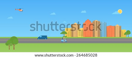 Colorful urban landscape long banner with modern buildings  - stock vector