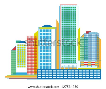 Colorful Urban Panorama with Skyscrapers - vector geometrical graphic - stock vector