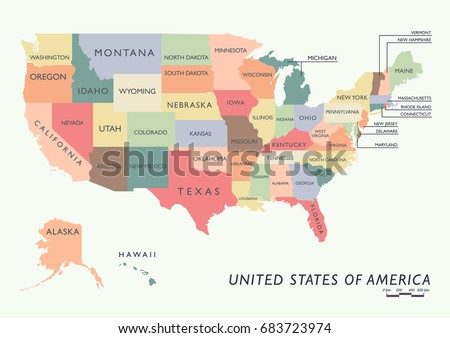 Usa United States America Political Map Stock Vector - Us map with names of states