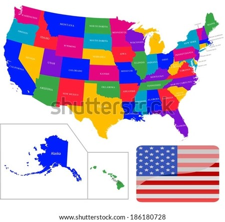 Colorful USA map with states  - stock vector