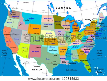 Colorful Usa Map States Capital Cities Stock Vector - A usa map