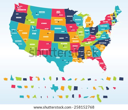 Colorful Usa Map States Capital Cities Stock Vector - Us maps with states and cities