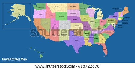 Usa Map Names States Cities Stock Illustration 4900168 Shutterstock