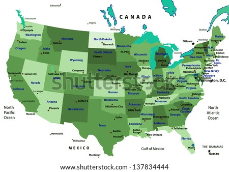 Colorful USA map with states and capital cities. Vector illustration - stock vector