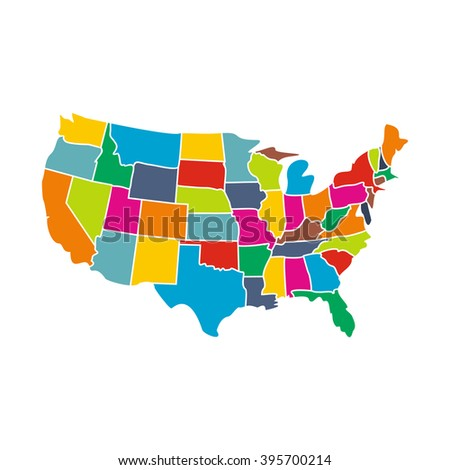 Colorful USA map with states icon - stock vector
