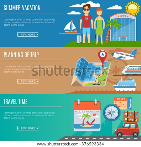 Colorful Vacation And Travel Flat Banners Set. Summer Vacation. Travel Time. Planning Of Trip - stock vector
