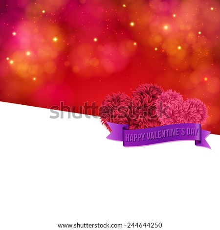 Colorful Valentines Day vector card template with a sparkling blurred background in shades of red with a posy of pink flowers and banner - Happy Valentines Day - over large blank white copyspace - stock vector