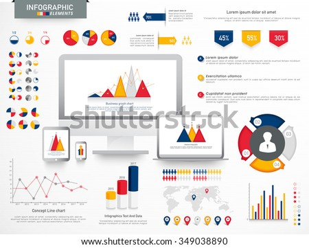 Colorful various Business Infographic elements with digital devices, statistical graphs, charts and world map. - stock vector