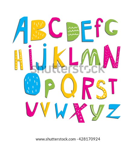 colorful vector alphabet. abc set design - stock vector